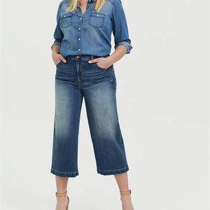 Torrid 16 Jeans Crop Wide Leg High Waist Relaxed